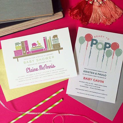 Baloons Baby Shower Invitation and Library Baby Shower Invitation