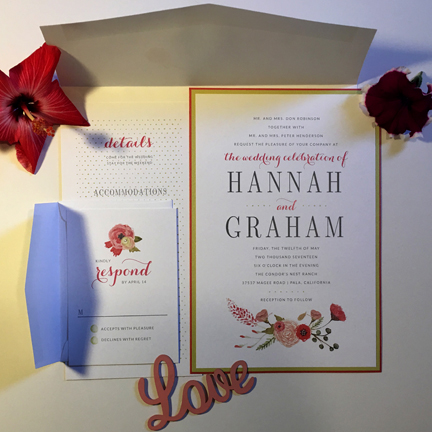 pink and rose wedding invitation