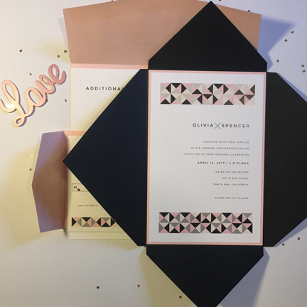 pink and gray triangle wedding invitation
