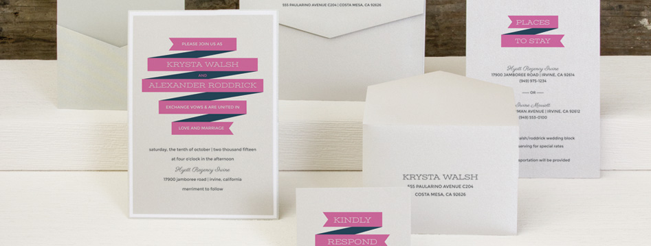 Modern Wedding Ribbon Invitation